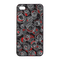 Red And Gray Abstract Art Apple Iphone 4/4s Seamless Case (black) by Valentinaart