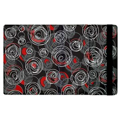 Red And Gray Abstract Art Apple Ipad 2 Flip Case by Valentinaart