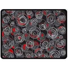 Red And Gray Abstract Art Double Sided Fleece Blanket (large)  by Valentinaart