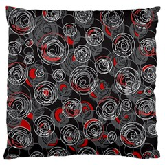 Red And Gray Abstract Art Large Flano Cushion Case (two Sides)