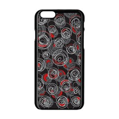 Red And Gray Abstract Art Apple Iphone 6/6s Black Enamel Case by Valentinaart