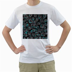 Gray And Blue Abstract Art Men s T-shirt (white) (two Sided) by Valentinaart