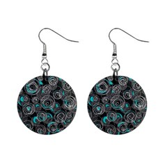 Gray And Blue Abstract Art Mini Button Earrings by Valentinaart