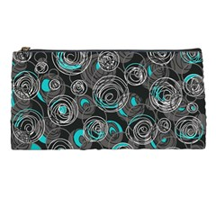 Gray And Blue Abstract Art Pencil Cases by Valentinaart
