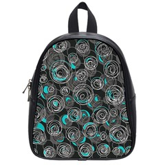 Gray And Blue Abstract Art School Bags (small)  by Valentinaart