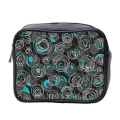 Gray And Blue Abstract Art Mini Toiletries Bag 2 Side by Valentinaart