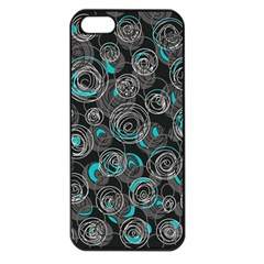 Gray And Blue Abstract Art Apple Iphone 5 Seamless Case (black) by Valentinaart