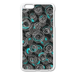 Gray And Blue Abstract Art Apple Iphone 6 Plus/6s Plus Enamel White Case by Valentinaart