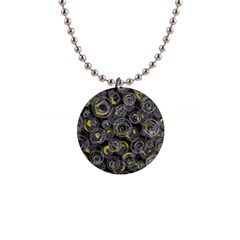 Gray And Yellow Abstract Art Button Necklaces by Valentinaart
