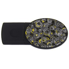 Gray And Yellow Abstract Art Usb Flash Drive Oval (4 Gb)  by Valentinaart