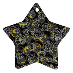 Gray And Yellow Abstract Art Star Ornament (two Sides)  by Valentinaart