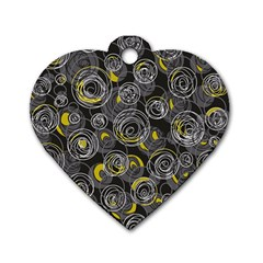 Gray And Yellow Abstract Art Dog Tag Heart (one Side) by Valentinaart