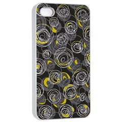 Gray And Yellow Abstract Art Apple Iphone 4/4s Seamless Case (white)