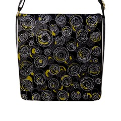 Gray And Yellow Abstract Art Flap Messenger Bag (l)  by Valentinaart