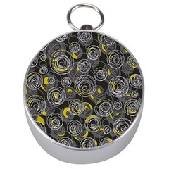 Gray And Yellow Abstract Art Silver Compasses by Valentinaart