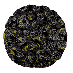 Gray And Yellow Abstract Art Large 18  Premium Flano Round Cushions by Valentinaart