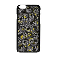 Gray And Yellow Abstract Art Apple Iphone 6/6s Black Enamel Case by Valentinaart