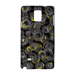 Gray And Yellow Abstract Art Samsung Galaxy Note 4 Hardshell Case by Valentinaart