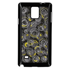Gray And Yellow Abstract Art Samsung Galaxy Note 4 Case (black) by Valentinaart