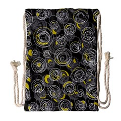 Gray And Yellow Abstract Art Drawstring Bag (large) by Valentinaart