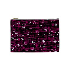 Magenta Abstract Art Cosmetic Bag (medium)  by Valentinaart