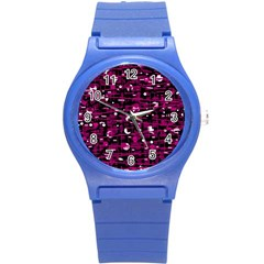Magenta Abstract Art Round Plastic Sport Watch (s) by Valentinaart