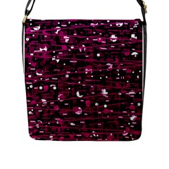 Magenta Abstract Art Flap Messenger Bag (l)  by Valentinaart