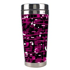 Magenta Abstract Art Stainless Steel Travel Tumblers by Valentinaart