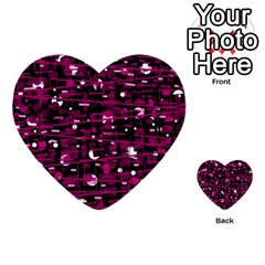 Magenta Abstract Art Multi Purpose Cards (heart)  by Valentinaart