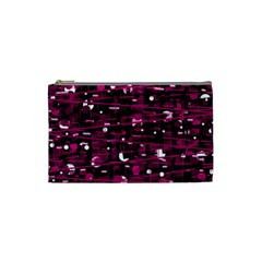 Magenta Abstract Art Cosmetic Bag (small)  by Valentinaart