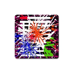 Colorful Big Bang Square Magnet by Valentinaart