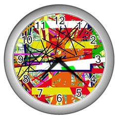 Colorful Abstraction By Moma Wall Clocks (silver)  by Valentinaart