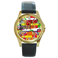Colorful Abstraction By Moma Round Gold Metal Watch by Valentinaart