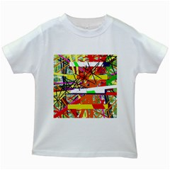 Colorful Abstraction By Moma Kids White T Shirts by Valentinaart