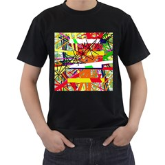 Colorful Abstraction By Moma Men s T Shirt (black) (two Sided) by Valentinaart