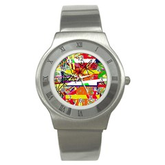 Colorful Abstraction By Moma Stainless Steel Watch by Valentinaart