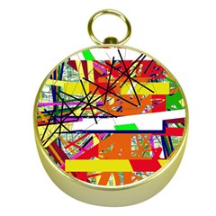 Colorful Abstraction By Moma Gold Compasses by Valentinaart