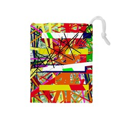 Colorful Abstraction By Moma Drawstring Pouches (medium)  by Valentinaart
