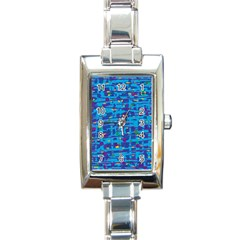 Blue Decorative Art Rectangle Italian Charm Watch by Valentinaart