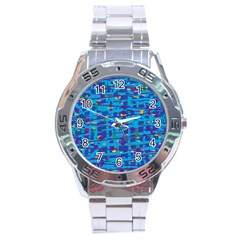 Blue Decorative Art Stainless Steel Analogue Watch