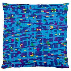 Blue Decorative Art Large Cushion Case (two Sides) by Valentinaart
