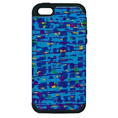Blue Decorative Art Apple Iphone 5 Hardshell Case (pc+silicone) by Valentinaart