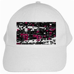Magenta, White And Gray Decor White Cap by Valentinaart