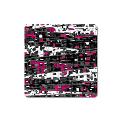 Magenta, White And Gray Decor Square Magnet by Valentinaart
