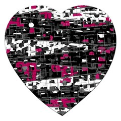 Magenta, White And Gray Decor Jigsaw Puzzle (heart) by Valentinaart