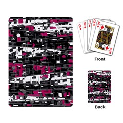 Magenta, White And Gray Decor Playing Card by Valentinaart