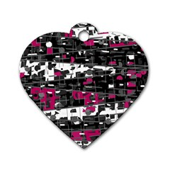 Magenta, White And Gray Decor Dog Tag Heart (two Sides) by Valentinaart