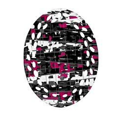 Magenta, White And Gray Decor Ornament (oval Filigree)  by Valentinaart