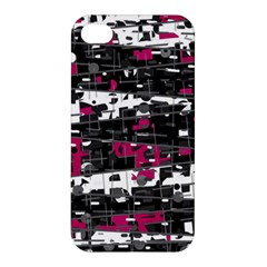 Magenta, White And Gray Decor Apple Iphone 4/4s Premium Hardshell Case by Valentinaart