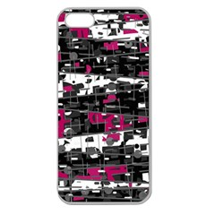 Magenta, White And Gray Decor Apple Seamless Iphone 5 Case (clear) by Valentinaart